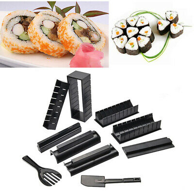 10PCS Sushi Maker Kit Rice Roll Making Mould Tool In Heart/Round/Square/Triangle • 12.95£