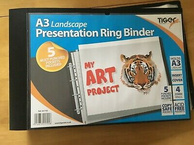 Tiger A3 Deluxe Landscape Ringbinder Portfolio With 15 Sleeves • 25£
