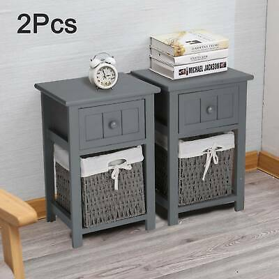 2 X Grey Modern Bedside Tables Night Stand Cabinet Storage Drawer Wicker Basket • 46.99£