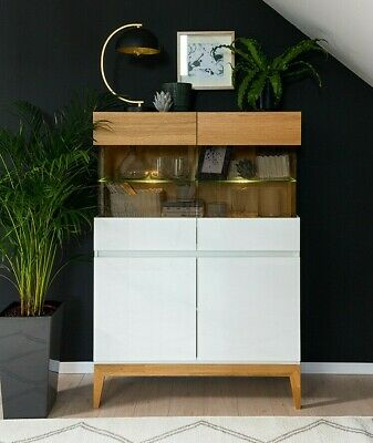 White Gloss Oak Glass Display Cabinet Unit LED Light Scandinavian Japanese Kioto • 379.95£