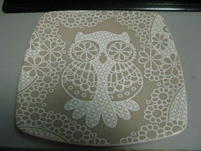 $4.99 • Buy Roscher Collection Lace Owl Square Stoneware Dessert Plate