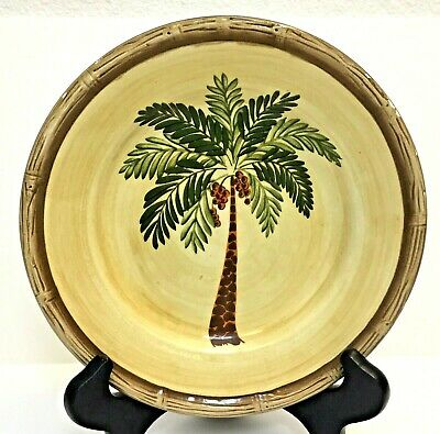 $5.99 • Buy West Palm By Home Trends Salad Plate Palm Tree Bamboo Border