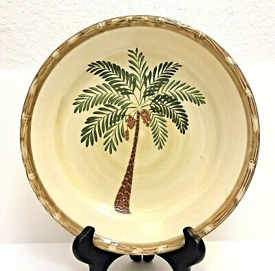 $6.99 • Buy West Palm By Home Trends Dinner Plate Palm Tree Bamboo Border