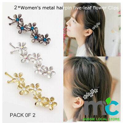 AU2.99 • Buy 2*Women's Metal Hairpin Five-leaf Flower Clips  Fashion Lady's Hair Accessories