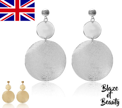 £3.69 • Buy Gold Silver Disc Earrings Round Statement Drop Hoop Ethnic Boho Fashion Trend UK