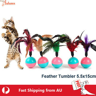 AU12.99 • Buy Cat Feather Tumbler Ball Toy Interactive Fun Teaser Kitten Pet Play Fur Mice