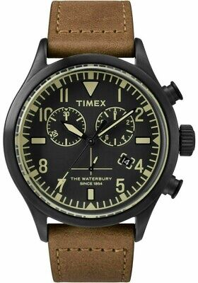 $94.99 • Buy TIMEX 43mm MEN'S WATERBURY CHRONOGRAPH BLACK FACE BROWN BAND  WATCH, TW2R13100