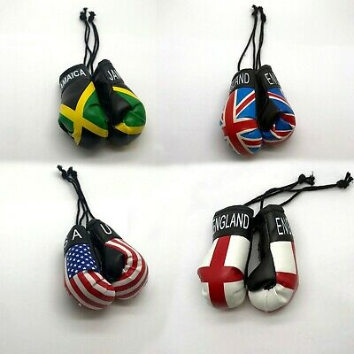 Car Hanging Boxing Gloves Decoration Country Flag Pair Single Set Van UFC MMA UK • 2.99£