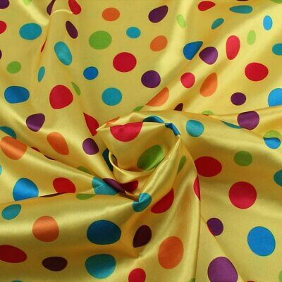 £5.11 • Buy Dots Stripes Satin Fabric 150cm CLOWN COSTUME Stage Cloth Making 148cm BY METER