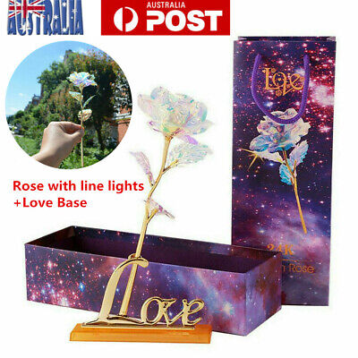 AU21.96 • Buy 24K Gold Plated Galaxy Rose W/ Light Valentine's Day Gift Girlfriend Wife Love