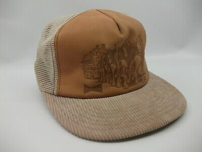 $ CDN279.99 • Buy Budweiser Clydesdales Leather Hat Vintage Tan Snapback Trucker Cap Made USA
