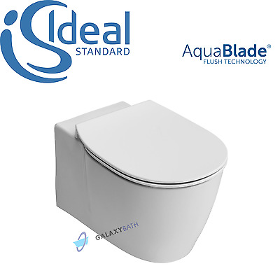 Ideal Standard Concept Aquablade Wall Hung Toilet Pan With Slim Soft Close Seat • 379£