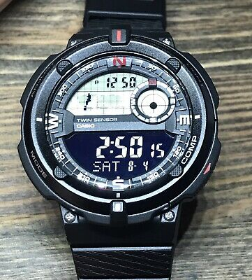 Casio Mens Black Twin Sensors Thermometer Compass 100m Tough Tactical New • 58.99£