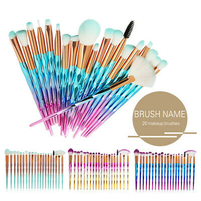 AU8.99 • Buy Diamond Unicorn 20PCS Eyeshadow Eyebrow Blending Brush Set Eye Make-up Brushes