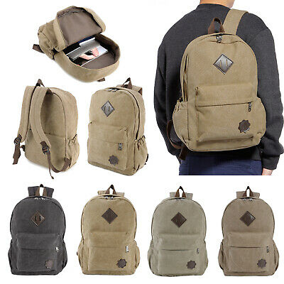 AU27.54 • Buy Unisex Canvas Backpack Leisure Rucksack Back Pack Shoulder Outdoor Travel Bag