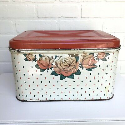 $40 • Buy Vintage Metal Tin Bread Box Hinged Lid Vented Red Floral Farmhouse Retro Storage