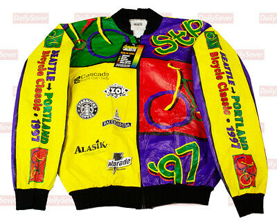 Seattle To Portland Cycling Jacket 1997 STP Graphic Jackets Bright Colorful Sz M • 34.99$