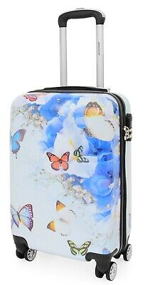 Cabin Size Suitcase Multi Butterflies Carry On Board 4 Wheel Hand Luggage Cosmos • 44.99£