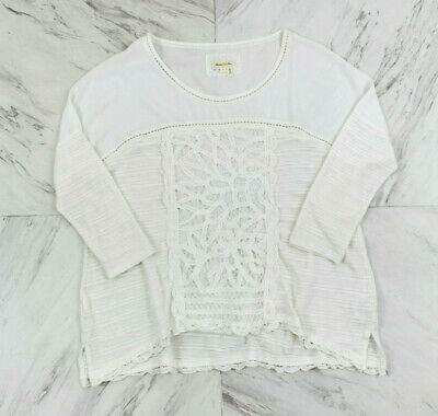 $ CDN32.61 • Buy Anthropologie Meadow Rue Small White Dolman Sleeve Top 3/4 Sleeve Lace Inset