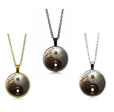 AU7.99 • Buy Steampunk Ying Yang Tibet Silver Cabochon Glass Pendant Chain Necklace 3 Colors