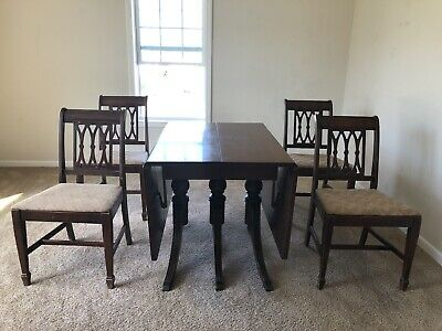 $2400 • Buy Mahogany Drop Leaf Dining Table With 6 Chairs- 1930's Duncan Phyfe Antique