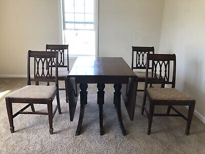 $1500 • Buy Mahogany Drop Leaf Dining Table With 4 Chairs- 1930's Duncan Phyfe Antique.