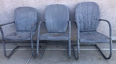 $275 • Buy 3 Vintage Metal Lawn Outdoor Patio Chairs, One Rocker For Restoration Genuine US