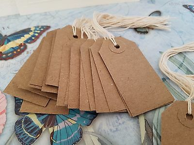 50 Rustic Recycled 70 X 35mm Kraft Buff Blank Strung Tags Labels Luggage Gift  • 2.30£