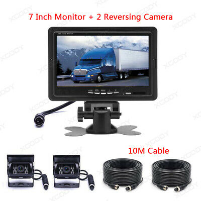 2 X Reversing Camera + 7  LCD Monitor Car Rear View Kit For Bus Truck 4Pin 10M • 49.98£