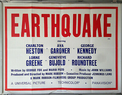 Cinema Poster: EARTHQUAKE 1974 (Title Quad) Charlton Heston Ava Gardner • 19.95£