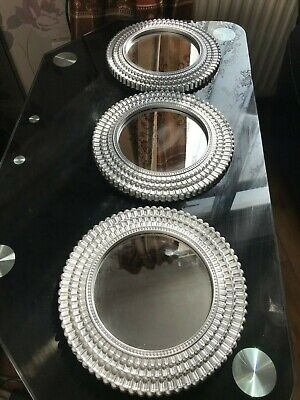 £15.95 • Buy Set Of 3 Small Silver Round Moroccan Art Wall Mirrors Kitchen Room Decor New