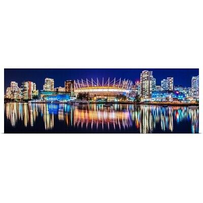 BC Place Stadium And Vancouver Skyline Poster Art Print, Skyline Home Decor • 38.61£