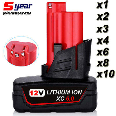 AU30.49 • Buy 6.0Ah For Milwaukee M12 Lithium Cordless 12V Battery Pack 48-11-2440 48-11-2412