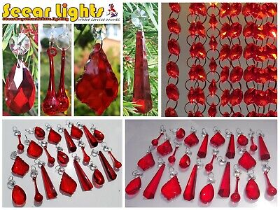 £8.99 • Buy Red Sun Catcher Chandelier Glass Crystals Drops Droplets Beads Light Feng Shui