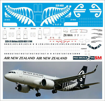 1/144 PAS-DECALS ZVEZDA REVELL Airbus A 320-31 NEO Air New Zealand • 14.29£