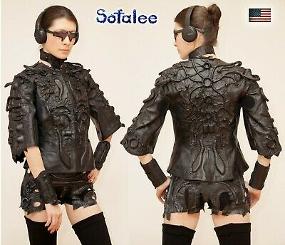 $ CDN988.86 • Buy Jacket Of Genuine Leather For Women Cyber Punk Style Black Jacket By Sofalee. SM