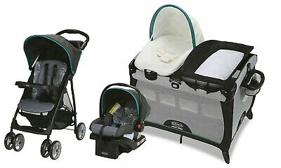 Baby Stroller With Car Seat Travel System Infant Nursery Crib Combo Graco • 287.26£