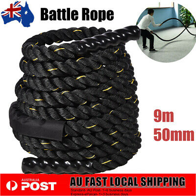 AU94.39 • Buy 50mm 9M Battle Rope Power Strength Training Home Gym Exercise Fitness Equipment
