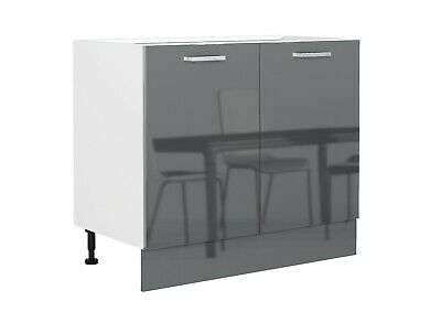 £179.95 • Buy Grey Gloss Kitchen Unit Base Cabinet Cupboard 100cm 1000 Soft Close 2 Door Luxe