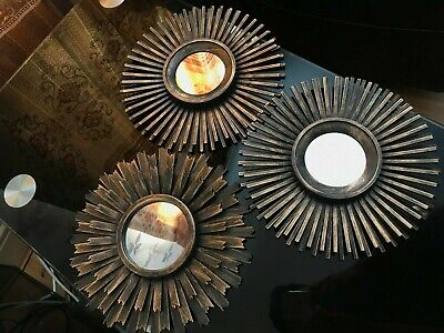 £17.50 • Buy Set Of 3 Moroccan Sunburst Wall Mirrors In Distressed Gold Decor Art Copper New