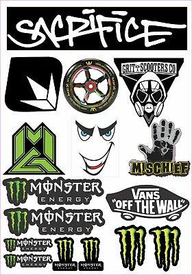 Scooter Mixed Sticker Sheet 16 Stickers In Total Mgp Grit Sacrifice Monster • 5.29£