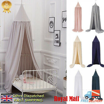 UK Kids Baby Bed Canopy Round Dome Cotton Play Tents Hanging Mosquito Net Indoor • 29.89£