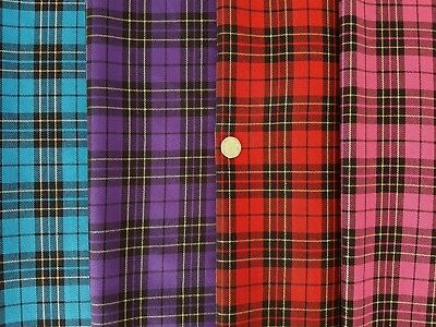 £6.45 • Buy Top Quality Poly Viscose Twill Christmas Sparkle Tartan Check Fabric/Material
