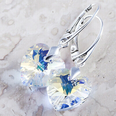 £12.99 • Buy 925 Sterling Silver Dangle Earrings *crystal Ab* Heart Crystals From Swarovski®
