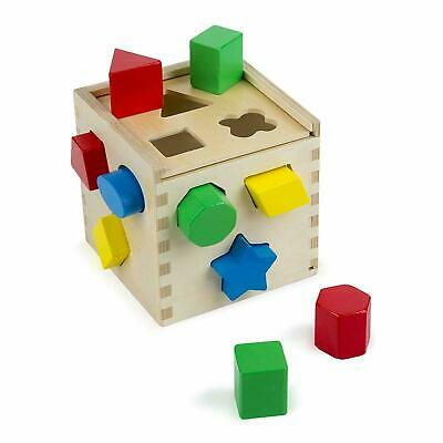 Melissa & Doug Shape Sorting Cube Classic Wooden Sorter Toy 12 Piece Playset • 11.95£