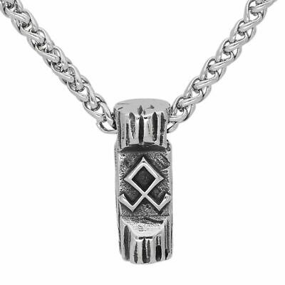 Nordic Rune Amulet Pendant Necklace Stainless Steel Viking Jewelry Gift Bag • 11.70£