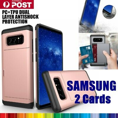AU9.99 • Buy Back Card Holder Slot Tough Bumper Case Cover For Samsung S6 7 8 9 Edge Note10