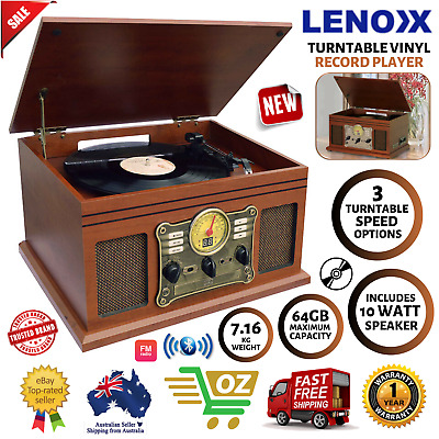 AU198.97 • Buy NEW Turntable Vinyl Record Player Casette AM FM Radio CD USB Bluetooth Remote
