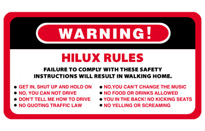 AU6.50 • Buy Warning Hilux Rules Series 4WD 4x4 Vehicles Decal Stickers