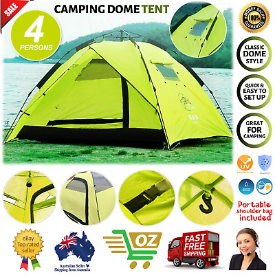 AU61.07 • Buy Waterproof Tent 3-4 Person Man Camping Dome Tent Pop Up Hiking Shelter Beach